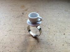 ring White Tea Cup Adjustable Alice In Wonder Land Handmade Cute Party
