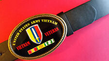 Vietnam Veteran -UNITED STARES ARMY- Epoxy Belt Buckle& Black Belt NEW