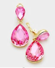 "1.75"" Long Pink Fuchsia Gold Wedding Rhinestone Crystal CLIP ON Earrings"