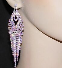 SILVER AB IRIDESCENT RHINESTONE BRIDAL PARTY CHANDELIER EARRINGS