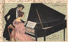 CPA ILLUSTRATEUR LA LECON DE PIANO (dos non divisé) BELLE CPA BELLE QUALITE