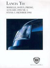 Lancia Y 10 Preisliste 1.10.93 Nr. 5 price list Auto PKWs Preise Italien Europa