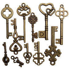 11 Assorted Vintage Antique VTG Old Look Skeleton Key Bronze Steampunk Pendants