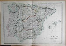 1860  LARGE ANTIQUE MAP - SPAIN AND PORTUGAL