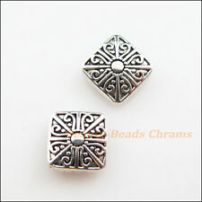 5Pcs Tibetan Silver Tone Flower Square Spacer Beads Charms 10mm