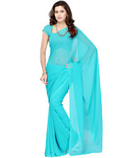Plain 60 Gram Georgette Sky Blue Color Saree