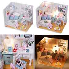 Kits DIY Wood Dollhouse Bed Miniature With LED+Furniture+cover Room Gift