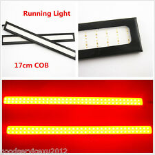 2 Pcs 6W COB-17cm Car LED DRL Fog Daytime Running Bright Light 3M Red Lamp Strip