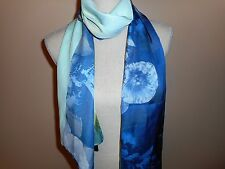 BRYN WALKER  Lime Turquoise Floral Linear Long Scarf Italian Fabric MADE USA NWT