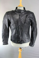 AKITO APOLLO PLUS BLACK LEATHER BIKER JACKET+BACK/SHOULDER/ELBOW PROTECTORS 42IN