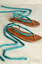 NIB Anthropologie tan leather Thong Sandals Lace Up Turquoise Ivory Laces 9