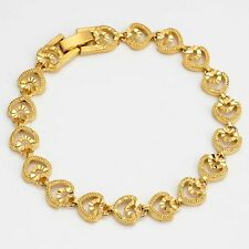 "Vogue Jewelry 18K Yellow Gold Filled Heart Bracelet Charm Chain 7.7"" Women Link"