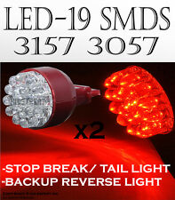 JDM 2 pcs 19smd SUPER RED LED STOP/TAIL-BRAKE LAMP LIGHT 3157 BULBS Bm8R6417
