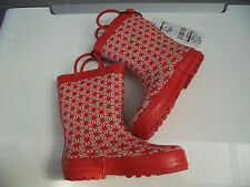 BNWT Little Girls Sz 9 Quality Rivers Doghouse Brand Cute Red/White Gumboots