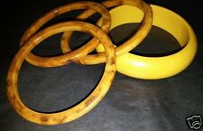 Vtg Egg Yolk & Marbleized Butterscotch Bakelite Amber Bangle Bracelet Stack Lot