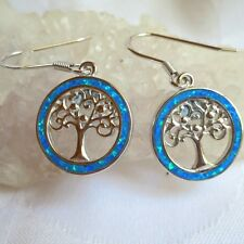 Tree of Life Earrings Blue-Green Fire Opal 925 Sterling Silver~Pagan Jewellery
