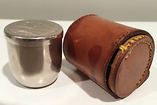 Vintage Art Deco German Shot Cup Drinking Set with Lid in Leather Case