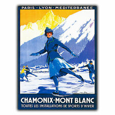 CHAMONIX MONT BLANC METAL SIGN PLAQUE Vintage Retro Travel Holiday Advert poster