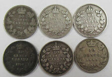 1900-1919 Canada Silver Dimes * Lot of 6- Old Canadian Coins