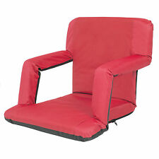 Portable Reclining Seat Padded Cushion Camping Chair Backpack Beach Chair Red