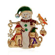 Festive enamel snowman, puppy, bird, snowflake and heart brooch, Xmas gift
