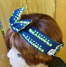 Seattle Seahawks Wired Dolly Bow -  Rockabilly Scarf Wire Headband  Bandanna