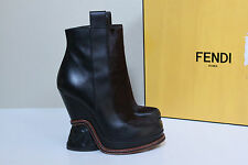 New sz 9.5 / 40 Fendi Brown Leather Pony Hair Ankle Wedge Chelse Heel Boot Shoes