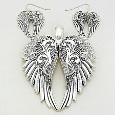 Angel Wings Pendant Earrings SET Metal Pave SILVER Rhinestones Filigree Jewelry