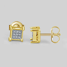 14K Yellow Gold Finish Silver Silver Round Diamond Square Shape Stud Earrings
