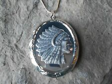 (LOCKET)--STUNNING NATIVE AMERICAN LOCKET!!  INDIAN, INDIAN HEAD- MIRROR LOOK!!!