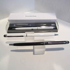 Set of 2 TERZETTI SLIM STYLE Black/White BALLPOINT PEN-CONDUCTIVE TOP-Gift Box