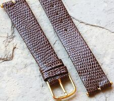 Brown T-bar lugs 16mm vintage watch strap lizard grain leather with connectors