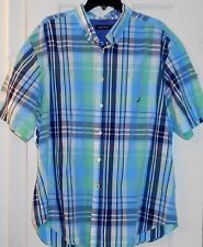 Mens $65 NAUTICA Neptune Green Blue White Plaid Sailboat Logo SHIRT~XXL