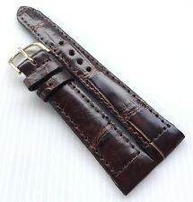 19 mm Brown Watch Strap Genuine Real Crocodile Alligator Skin Leather Grade A 10