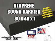 "SUPER DUTY neoprene SOUND BARRIER 80x48x1"" soundproofing acoustic foam"