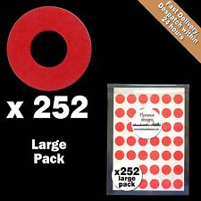 252 x Red hang tag ring/round/hole reinforcement stickers/labels