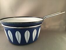 Cathrineholm Blue & White Lotus Enamel Pot Mid Century Modern Norway