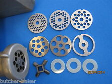 6 Meat Grinder plates & knife for VINTAGE KitchenAid Mixer Metal Meat Grinder