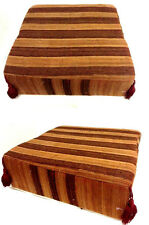Moroccan Hand Woven Kilim Wool Square Ottoman Pouf Chair in Brown & Stripes