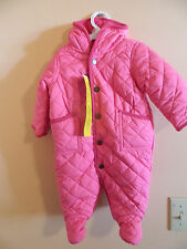 NWT Ralph Lauren girl pink footed quilted puffer bunting w/attached hood; sz 6m
