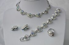 VINTAGE AB crystal RHINESTONE EARRING BRACELET NECKLACE SET + ring