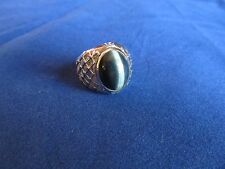 Mens Boys White Gold Plated Tiger Eye Stone Fashion Ring Sz 9