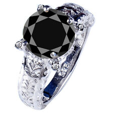 3.46ct AAA BLACK MOISSANITE ROUND & REAL ROUGH DIAMOND MEN'S RING .925 SILVER