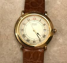 Seiko Men's Dress Watch Gold Color Face With Roman Numbers Leather Band Was $295