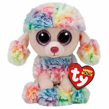 """Rainbow The Poodle Dog 6"""" Plush Ty Beanie Boos Toy Doll NEW"""