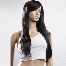 """New 29"""" Long Straight Synthetic Hair Full Wig for Cosplay Party Black"""