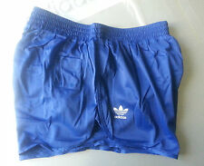 adidas size M running athletic BLUE DENIM shorts shiny glanz nylon vintage NEW