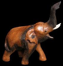 """sculpté en bois Éléphant 9"""" trä elefant Holzelefant elefante de madera éléphant"""