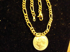 bling gold Plated figaro link chain necklace small thin pimp thug gang hip hop