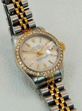 Ladies Diamond Dial Rolex Datejust 18k Yellow Gold & Stainless Steel 69173 Watch